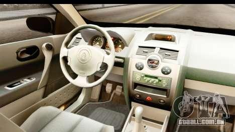 Renault Megane 2 Sedan Unmarked Police Car para GTA San Andreas vista interior