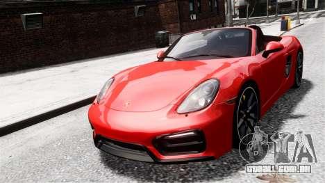 Porsche Boxster GTS 2014 para GTA 4 traseira esquerda vista