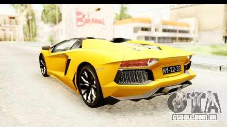 Lamborghini Aventador LP700-4 Roadster v2 para GTA San Andreas traseira esquerda vista