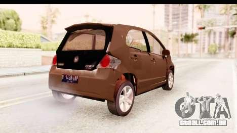 Honda Brio para GTA San Andreas traseira esquerda vista