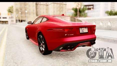 Jaguar F-Type R Coupe 2015 para GTA San Andreas traseira esquerda vista