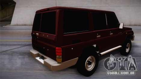 Toyota Land Cruiser 4 Puertas Original para GTA San Andreas esquerda vista