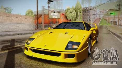 Ferrari F40 (EU-Spec) 1989 IVF para vista lateral GTA San Andreas