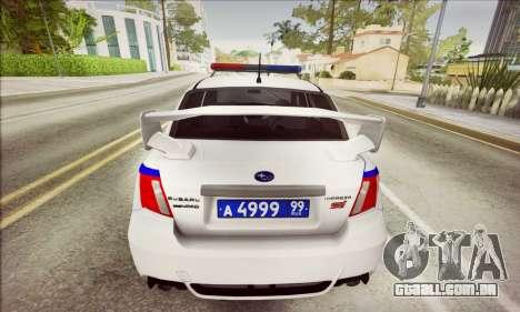 Subaru Impreza WRX STI Police para GTA San Andreas traseira esquerda vista