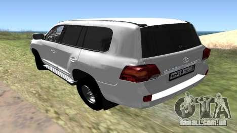 Toyota Land Cruiser 200 para GTA San Andreas esquerda vista