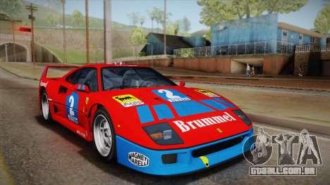 Ferrari F40 (EU-Spec) 1989 IVF para GTA San Andreas vista inferior