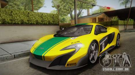 McLaren 675LT 2015 5-Spoke Wheels para GTA San Andreas vista interior
