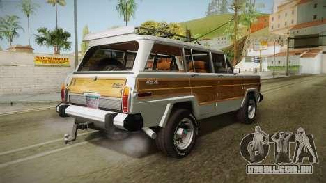 Jeep Grand Wagoneer Limite 1986 para GTA San Andreas esquerda vista