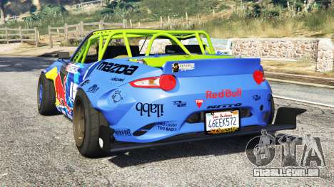 GTA 5 Mazda MX-5 (ND) RADBUL Mad Mike [replace] traseira vista lateral esquerda