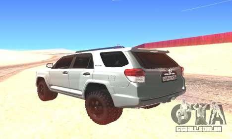Toyota 4Runner para GTA San Andreas traseira esquerda vista
