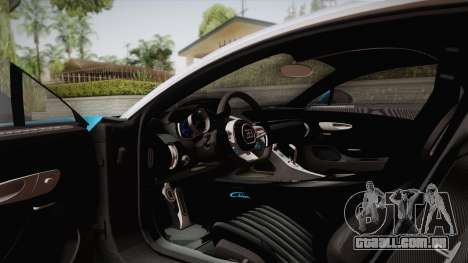Bugatti Chiron 2017 para GTA San Andreas vista interior