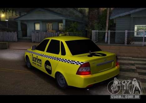Lada Priora Táxi-O Vento para GTA San Andreas vista direita