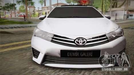 Toyota Corolla 2015 para GTA San Andreas vista direita