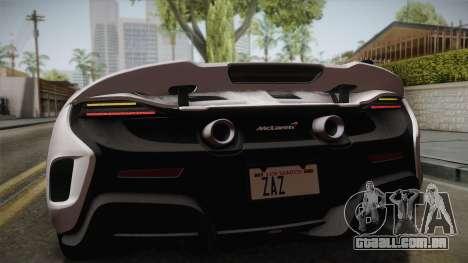 McLaren 675LT 2015 5-Spoke Wheels para GTA San Andreas vista traseira