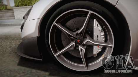McLaren 675LT 2015 5-Spoke Wheels para GTA San Andreas vista direita