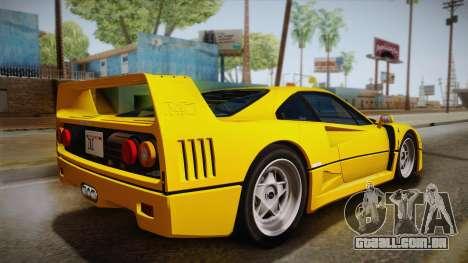 Ferrari F40 (EU-Spec) 1989 IVF para GTA San Andreas esquerda vista