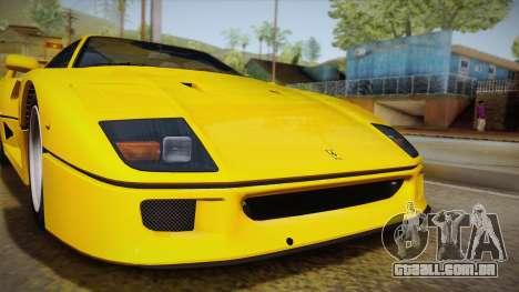 Ferrari F40 (EU-Spec) 1989 IVF para GTA San Andreas traseira esquerda vista