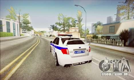 Subaru Impreza WRX STI Police para GTA San Andreas vista traseira