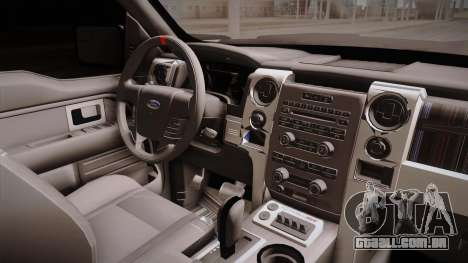 Ford Raptor para GTA San Andreas vista interior