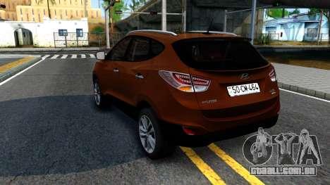 Hyundai ix35 Aze para GTA San Andreas traseira esquerda vista