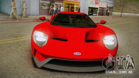 Ford GT 2017 No Stripe para GTA San Andreas vista direita