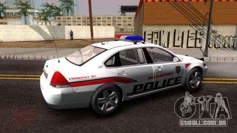 Chevy Impala Blueberry PD 2009 para GTA San Andreas esquerda vista