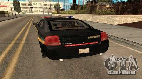 Dodge Charger County Sheriff para GTA San Andreas vista direita