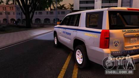 2015 Chevy Tahoe San Andreas State Trooper para vista lateral GTA San Andreas