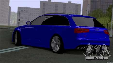 AUDI RS6 2014 para GTA San Andreas traseira esquerda vista