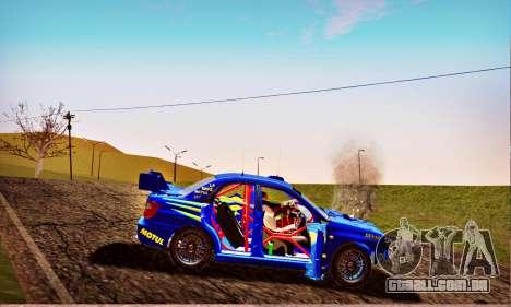 Subaru Impreza WRX STI WRC Rally 2005 para GTA San Andreas vista inferior