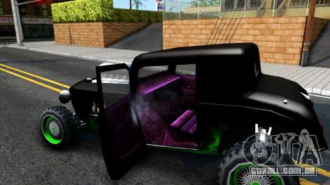 Green Flame Hotknife Race Car para GTA San Andreas vista interior