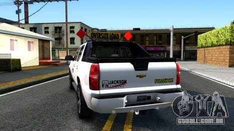 2007 Chevy Avalanche - Pilot Car para GTA San Andreas traseira esquerda vista