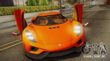 Koenigsegg Regera 2016 Bonus para GTA San Andreas vista direita