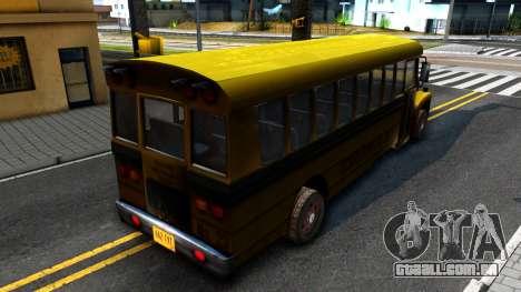 School Bus Driver Parallel Lines para GTA San Andreas traseira esquerda vista