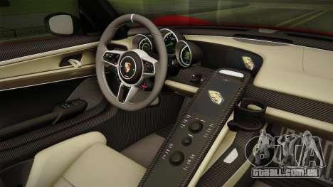 Porsche 918 Spyder 2013 Weissach Package SA para GTA San Andreas vista interior
