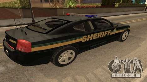 Dodge Charger County Sheriff para GTA San Andreas esquerda vista