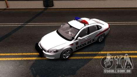 Chevy Impala Blueberry PD 2009 para GTA San Andreas vista traseira