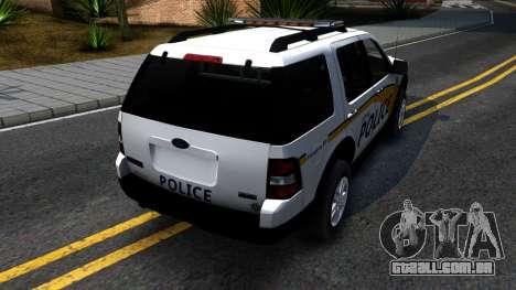 Ford Explorer Metro Police 2009 para GTA San Andreas traseira esquerda vista