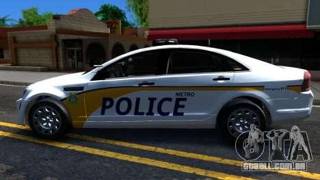 Chevy Caprice Metro Police 2013 para GTA San Andreas esquerda vista