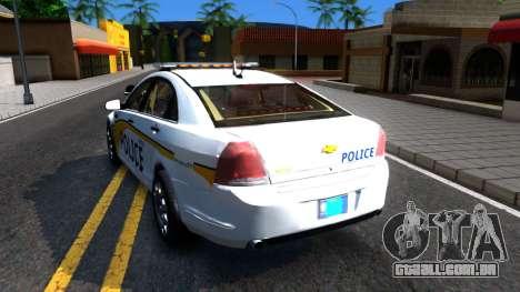 Chevy Caprice Metro Police 2013 para GTA San Andreas traseira esquerda vista