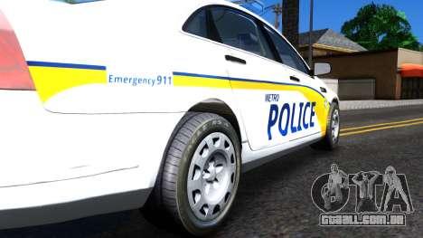 Chevy Caprice Metro Police 2013 para GTA San Andreas vista traseira