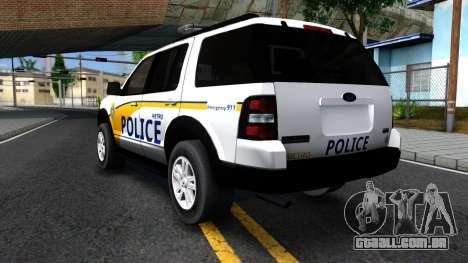 Ford Explorer Metro Police 2009 para GTA San Andreas vista traseira