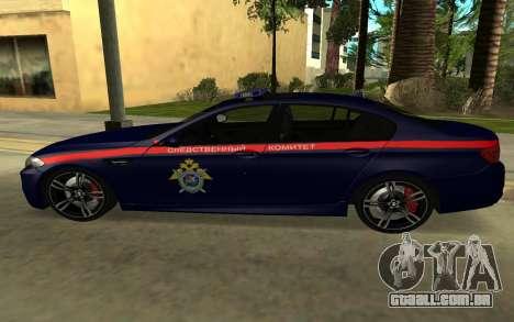 BMW M5 F10 para GTA San Andreas vista traseira