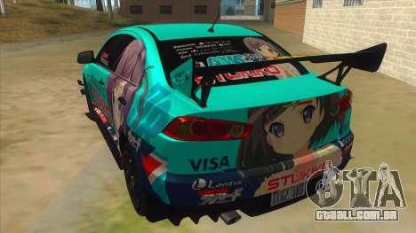 Tsukiko Itasha Evo X Vinyl para GTA San Andreas traseira esquerda vista