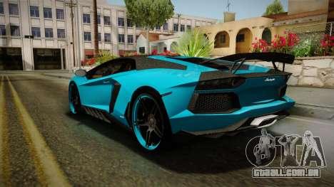 Lamborghini Aventador Itasha Rias Gremory para GTA San Andreas vista direita