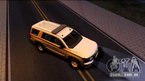 2015 Chevy Tahoe San Andreas State Trooper para GTA San Andreas vista inferior