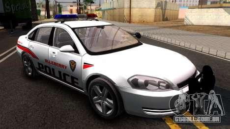 Chevy Impala Blueberry PD 2009 para GTA San Andreas vista direita