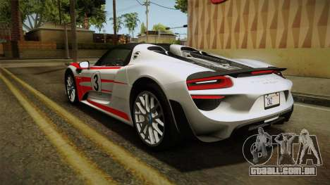 Porsche 918 Spyder 2013 Weissach Package SA para as rodas de GTA San Andreas
