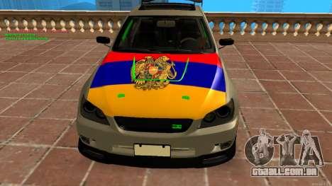 Toyota Altezza Armenian para GTA San Andreas traseira esquerda vista