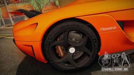 Koenigsegg Regera 2016 Bonus para GTA San Andreas vista interior